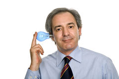 Silly. Business man with a lamp isolated on white Royalty Free Stock Photography
