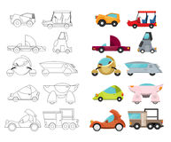 Silly Cars. Vector illustration of various silly and unusual car styles and shapes stock illustration