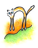 Silly cat. Watercolor picture of a happy silly cat horsing around royalty free illustration