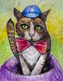 Silly cat with hat and bow tie art stock photography