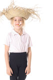 Silly child with straw hat Royalty Free Stock Photo