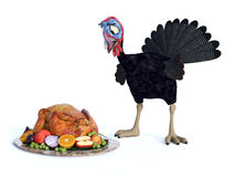 Silly chocked toon turkey. Stock Images
