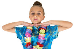 Silly expression from girl wearing Chinese dress and lei Stock Images