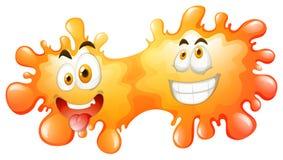 Silly face on orange splash Royalty Free Stock Image