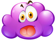 Silly face on purple cloud Stock Photography