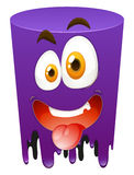 Silly face on purple tube Royalty Free Stock Photos