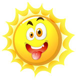 Silly face on the sun. Illustration royalty free illustration