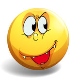 Silly face on yellow badge Stock Photo