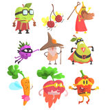 Silly Fantasy Fruit And Vegetable Characters Set. Vegetables As Magicians And Superheroes, Flat Geometric Design Childish Stickers On White Background stock illustration