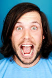Silly funny man. Funny face man portrait real silly fun expression Royalty Free Stock Images