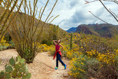 Silly Girl Posing In The Desert. A silly tween girl poses in the Arizona desert on a cloudy day amidst saguaros, occotillos, and brittle brush royalty free stock photography