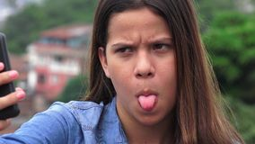 Silly Goofy Teen Girl Making Funny Faces stock video