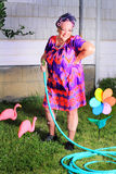 Silly granny  gardener Stock Photography