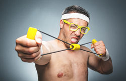 Silly guy doing aerobics royalty free stock images