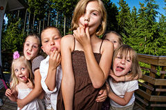 Silly kids. A group of kids making silly faces Stock Photo