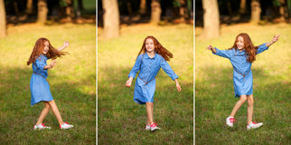Silly little red-haired girl royalty free stock photography
