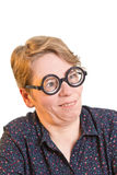 Silly looking woman thick glasses Stock Images
