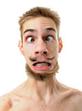 Silly man with crossed eyes Stock Photography