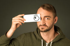 Silly man looking with hand drawn eye balls Stock Photography