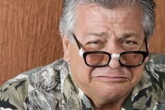 Silly Man with Taped Glasses Royalty Free Stock Images