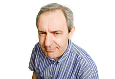 Silly. Mature casual man, close up portrait Stock Photos
