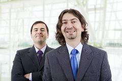 Silly men. Two silly young business men portrait at the office Stock Images