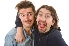 Silly men. Two young casual silly men, isolated on white Stock Images