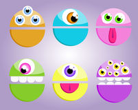 Silly Monsters. Silly monster faces set royalty free illustration
