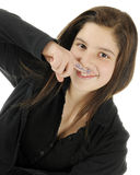 Silly Mustache Girl royalty free stock images