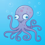 Silly Octopus. Vector cartoon illustration of a happy octopus in the water with bubbles royalty free illustration