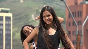 Silly Photobomb of Teen Girl stock footage