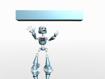 Silly robot and banner Stock Photos