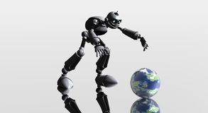 Silly robot and globe Royalty Free Stock Photo