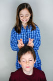 Silly siblings Stock Image