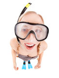 Silly snorkeler girl with mask fogging up Royalty Free Stock Photo