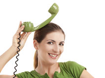 Silly telephone girl Royalty Free Stock Photos