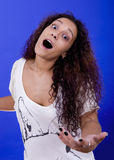 Silly. Young beautiful woman close up portrait Stock Photos