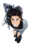 Silly. Young silly beautiful woman full body, isolated in white Royalty Free Stock Images