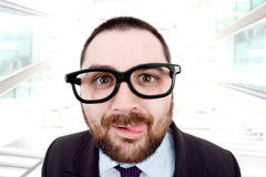 Silly. Young business man portrait at the office Royalty Free Stock Photos