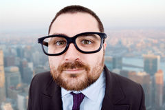 Silly. Young silly business man portrait at the office Royalty Free Stock Photo