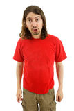 Silly. Young silly casual man portrait in a white background Stock Image