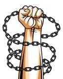 Silna ręka zaciskający pięść bój dla wolności przeciw łańcuszkowej niewolnictwo tematu ilustracji, wektorowemu logo lub tatuażowi ilustracja wektor