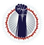 Silna ręka zaciskający pięść bój dla wolności przeciw tarninowej cierniowej niewolnictwo tematu ilustracji, wektorowemu logo lub  ilustracja wektor
