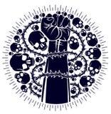 Silna ręka zaciskający pięść bój dla wolności przeciw tarninowej cierniowej niewolnictwo tematu ilustracji, wektorowemu logo lub  royalty ilustracja