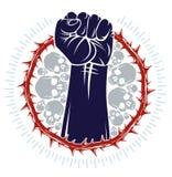 Silna ręka zaciskający pięść bój dla wolności przeciw tarninowej cierniowej niewolnictwo tematu ilustracji, wektorowemu logo lub  ilustracji