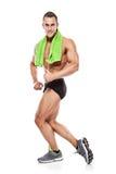 Silna Sportowa mężczyzna sprawności fizycznej modela półpostać pokazuje mięśnie obrazy stock