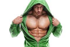 Silna Sportowa mężczyzna sprawności fizycznej modela półpostać pokazuje sześć paczek abs Jest fotografia stock