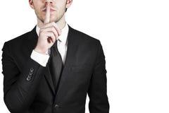 Silêncio silencioso do homem de negócios Imagens de Stock Royalty Free