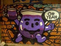 Silne latarnie uliczne i graffiti sztuka, Knoxville, Tennessee, Stany Zjednoczone Ameryka: [nocy życie w centrum K obraz royalty free