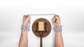 Silne męskie ręki cedzi metal łańcuszkowego chwytający ono wokoło sędziego młoteczka Fotografia Royalty Free